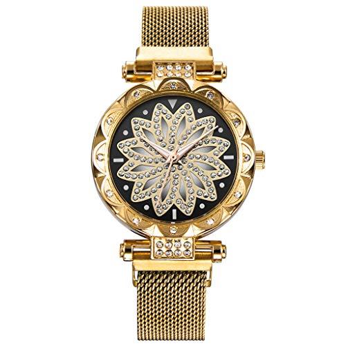 XZDCDJ Damen Armbanduhr Frauen Uhr Damen magnetische Uhr Diamant weibliche Quarz Armbanduhren Damen Uhren Billig Gold