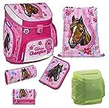 Familando Horse Champion Pferde Schulranzen-Set 6tlg. rosa Scooli Campus Up Federmappe gefüllt mit Regenschutz