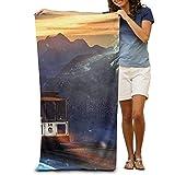 Fedso Super saugfähiger Strandhandtuchhalter Zug Polyester Samt Strandhandtücher 78,7 x 129,5 cm