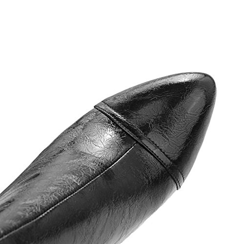 Damen Spitz Voguezone009 Weiches Absatz Reißverschluss Schwarz Hoher Material Stiefel Zehe dUq4OU