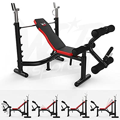 We R Sports Heavy Duty Premium Weight Bench with Weight Rack Home Fitness Gym Bench Workout - Black/Red from We R Sports®