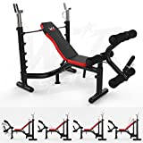 We R Sports Heavy Duty Premium Weight Bench with Weight Rack Home Fitness Gym Bench Workout - Black/Red