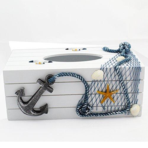 design professionale nessuna tassa di vendita nuove immagini di Landove Mediterraneo Scatola Porta Fazzoletti di Carta in Legno Blanco  Vintage Shabby Chic Tissue Box Organizer per Casa / Ristorante / Auto /  Hotel