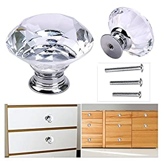OGORI 8X 40MM Clear Crystal Glass Door Knobs Diamond Drawer Cabinet Furniture Kitchen