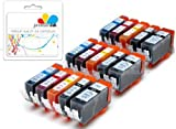 Premier Cartridges 15 Canon Compatible Cli526, Pgi525, Printing Ink Cartridges - New With Chip Installed No Fuss - Multipack Set Of 15 Canon Compatible Printer Ink Cartridges For Canon Pixma Ip4850, Ip4950, Mg5250, Mg5350,Mg5150, Mg8250, Mg6150, Mg6220, Mg6250, Mg8150, Mg8220, Mx715, Mx885, Ix6550 Printer Inks Pgi 525Bk, Cli 526Y, Cli 526M, Cli 526C, Cli 526Bk,) High Capacity Inks