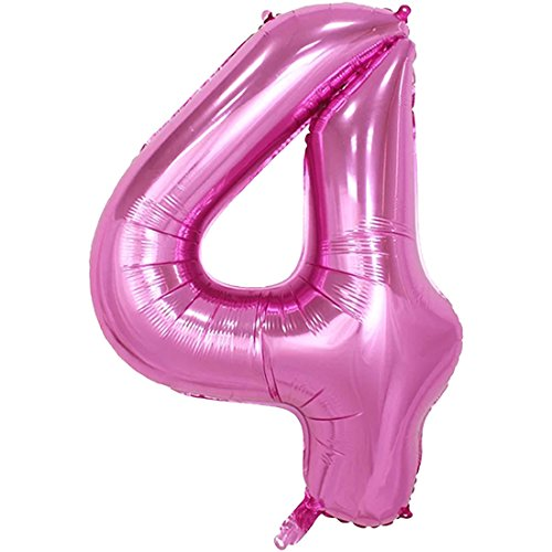 YOGINGO 40 Zoll Aufblasbare Große Anzahl Ballons Digit Folie Geburtstag Hochzeit Party Dekoration Nummer - Rosa 4