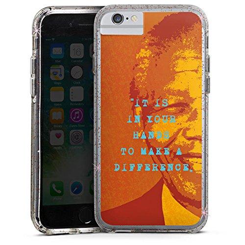 Apple iPhone 6s Bumper Hülle Bumper Case Glitzer Hülle Mandela Veraenderung Change Bumper Case Glitzer rose gold