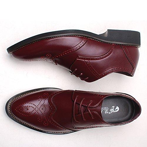 Rismart Homme Mode confortable Travail Espace Cuir Fendu Oxfords Chaussures Bourgogne