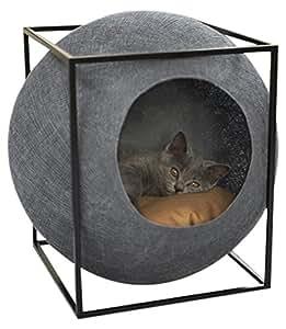 Meyou Paris - Le CUBE GRIS FONCE. Couchage, panier, arbre à chat, lit, abri, griffoir - Cocon gris foncé / coussin camel / structure métal noir mat