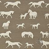 MIRABLAU DESIGN Stoffverkauf Bio Baumwolle Jersey GOTS Pferde und Ponys in creme auf taupefarbenem Grund (2-083M), 0,5m