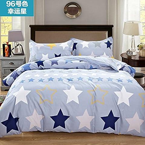 King/Queen 100% Baumwolle Bettbezug Einzel Doppel Bettbezug (Nur gehören Bettbezug), Baumwolle Bettbezug für Kinder und Studenten, 200 x 230 cm, 96 Lucky Star