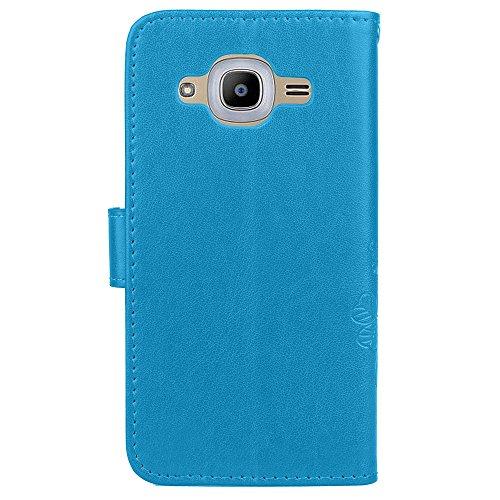 Doppelte magnetische Verschluss geprägte Blumen Premium PU Leder Schutzhülle Taschenmappe Tasche Folio Stand Case mit Card Slots & Lanyard für Samsung Galaxy J2 2016 ( Color : Blue ) Blue