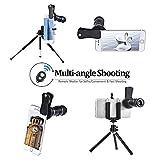 Telephoto Lens Kit, GLISTENY 4 in 1 Handy-Objektiv-Kit, 12X Teleobjektiv+ 180 Grad Fisheye-Objektiv+ 0.67X Weitwinkel+ Makroobjektiv mit Bluetooth Remote Shutter und Mini-Stativ für Iphone 6/6PLUS/7/8, Samsung, Huawei, Miphone und die Meisten Single-Lens...