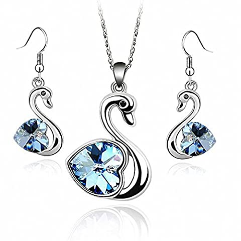 Introl White Gold Plated Set with Aquamarine Blue Crystals From Swarovski By GoSparkling ST-48098