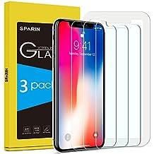 [3-Pack] Protector Pantalla iPhone X, SPARIN Cristal Templado iPhone X, Vidrio Templado Protector de Pantalla con [2.5d Borde redondo] [9H Dureza] [Alta Definicion] para iPhone X