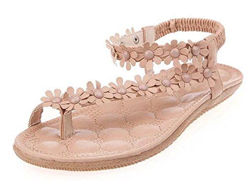 Student flache Sandalen weiblicher Sommer Strass-Sandalen mit flachen Sandalen Größe Frauen apricot