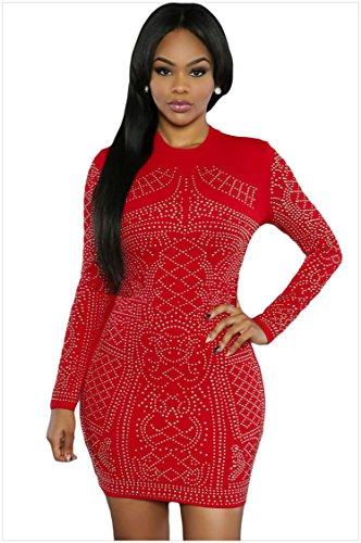meinice a maniche lunghe vestito Red