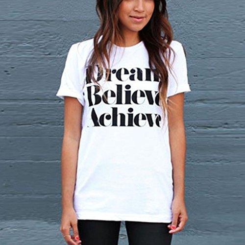 Etosell Femmes D'ete Impression Coton Casual T-shirt Blanc