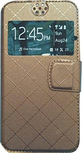 BKDT Marketing Leather finish Flip Cover Case Stand Diary Style for Gionee Elife E5 with Dislay Window and Stand - Brown  available at amazon for Rs.234