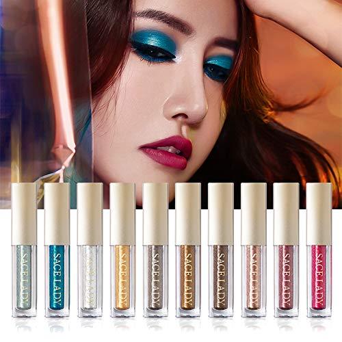 Liquid Lidschatten Eyeshadow Makeup Shiny Glitter Wasserdicht Schimmer und Glanz Langlebige Lidschatten-Aufkleber Metallic-Pigmente (10 Farben)