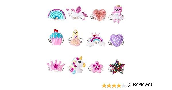 fleurs R/églable pour petites filles amour Lot de 12 bagues papillon pour enfant Bague licorne arc-en-ciel style 1