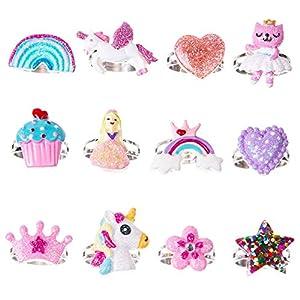 12 x Kinder-Schmetterlingsring – Kleinkind Einhorn Regenbogen Ring – verstellbar kleine Mädchen Blume Liebe Schmuck Set Stil 1