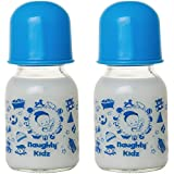 Premium Glass Feeding Bottle With Premium LSR Nipple- BLUE-120ML+120ML-BLUE