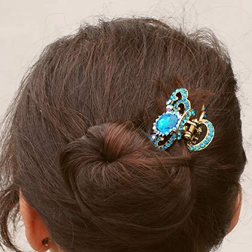 QueenMee Haarklammer mit Metallklaue, Vintage-Stil, mit Strasssteinen, Mittelgroße Haarspange