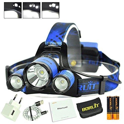 Boruit LED Kopflampe USB Stirnlampe Wasserdicht Wiederaufladbar Superhell 1*XM-L2+2*R2 LEDs 6000LM mit SOS Pfeife, Micro USB Port (Läufer Strobe)