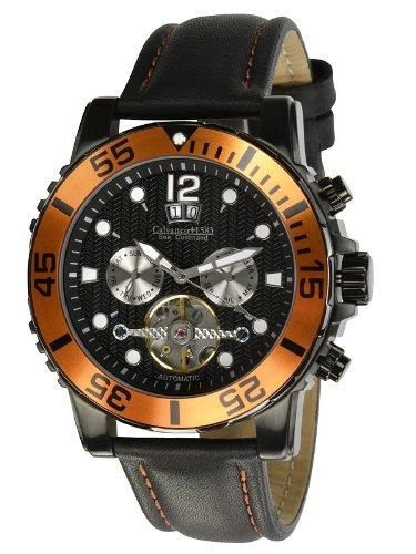 Calvaneo - Calvaneo Sea Command Black PVD / Orange, Automatic Diver - Mixte - Noir