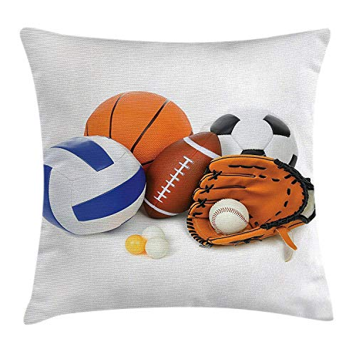 ports Decor Throw Pillow Cushion Cover, Different Sports Balls Together Championship Ping Pong Volleyball Olympics Concept,Square Throw Pillow Case Cushion Cover 18x18 inch, Multi ()