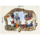 Sam le pompier Autocollant mural, peinture murale, décalque pour chambre d'enfant