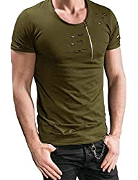 Mens Short Sleeve Shirts,Moonuy,Mens Shirts Casual,Boy Men Zipper Holes Slim Workout Fitness Winetr Autumn Summer T-Shirt Casual Handsome Cool T-Shirt Tops Blouse Pullover For Men
