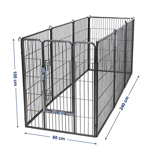 Songmics 8-tlg Welpenauslauf für Hunde Kaninchen und Andere Kleine Haustiere 80 x 100 cm (B x H) Grau PPK81G - 5