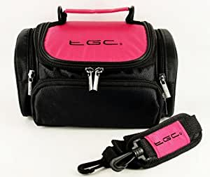 TGC ® Large Camera Case for Samsung WB1100F, WB2200F Plus Accessories (Hot Pink & Black)