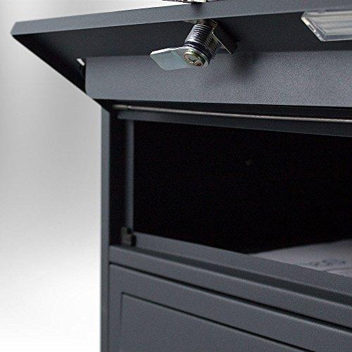 BITUXX® Stand-Briefkastenanlage Postkasten Letterbox Mailbox Doppelt mit 8 Fächer Dunkelgrau Anthrazit - 6