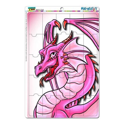 Dragon Pink–Happy Cute Fantasy Mag-Neato 's-TM) Neuheit Geschenk Locker Kühlschrank Vinyl Puzzle Magnet Set