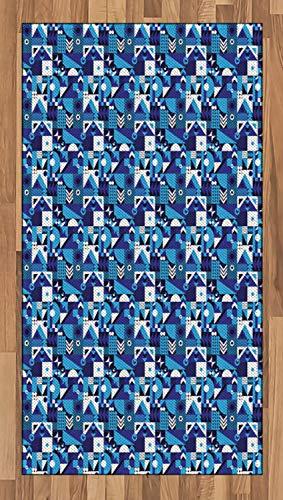 ABAKUHAUS Navy blau Teppich, Zeitgenössische Zusammenfassung, Deko-Teppich Digitaldruck, Färben mit langfristigen Halt, 80 x 150 cm, Hellblau Violett Weiß (Navy Zeitgenössische Teppich)