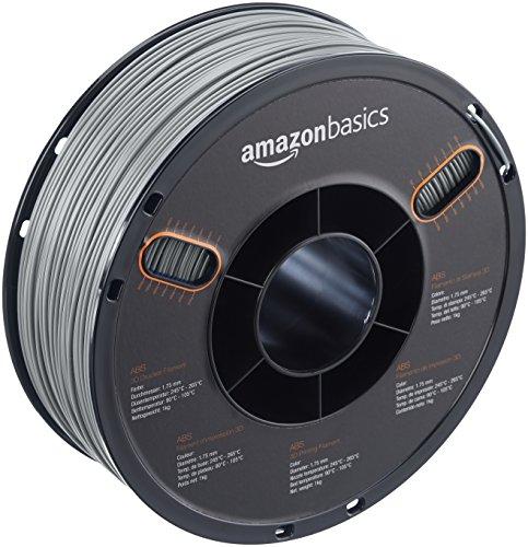 AmazonBasics ABS 3D Printer Filament, 1.75mm, Grau, 1kg Spule