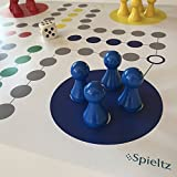 Spieltz 51859: Riesen Ludo (XXL). Brettspiel extra groß. Extra großer Spielplan (60x60 cm), große Spielfiguren aus Holz (Halmakegel 5 cm hoch, Würfel 3x3x3 cm). Bes. für Senioren, Kindergärten, Veranstaltungen.