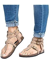 b681105124 Minetom Mujer Sandalias De Punta Abierta Retro Clip Toe Planos Elegante  Zapatos Primavera Verano Romanas Gladiadoras