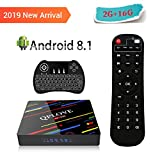 [Android 8.1] QPLOVE Smart TV Box con Pantalla LED, 2GB / 16GB 4K Ultra HD Set Top Box RK3328 Quad Core Dual WiFi 2.4/5GHz 100M LAN Bluetooth 4.0 H.265 3D con Mini Teclado Retroiluminado Inalámbric