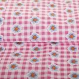 Hans-Textil-Shop Stoff Meterware Karo Blumen Rosa Baumwolle
