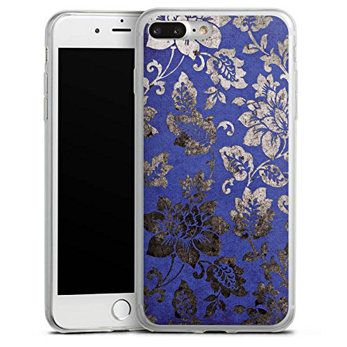 Apple iPhone 8 Slim Case Silikon Hülle Schutzhülle Ornament Blumen Silber Silikon Slim Case transparent