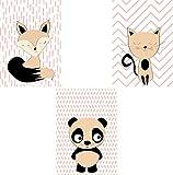 Wandposter für das Kinderzimmer im 3er Set DIN A4 Format Fuchs Panda Katze Babyzimmer Poster Bilder Dekoration Kinderzimmer ohne Bilderrahmen