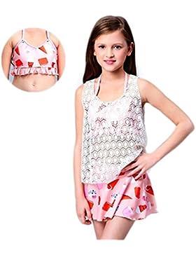 12–14year old Girl 3pz Sunscreen confortevole staccabile bikini nuoto tuta con design alla moda carino applicazione...