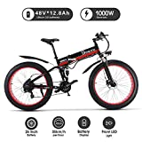 1000W ebike Fat Tire Bici elettrica Pieghevole Mountain Bike 26 'Full Suspension 48V12AH 21 Pedali Assist