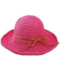 Urban GoCo Femmes Mode Plage Capeline Anti-Uv Bow Décoration Bord Large Paille Chapeau De Soleil