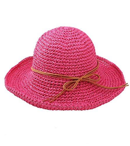 Urbancoco Damen klappbare Kappe flexible Sommer Strand Sonne Hüte (hot pink)