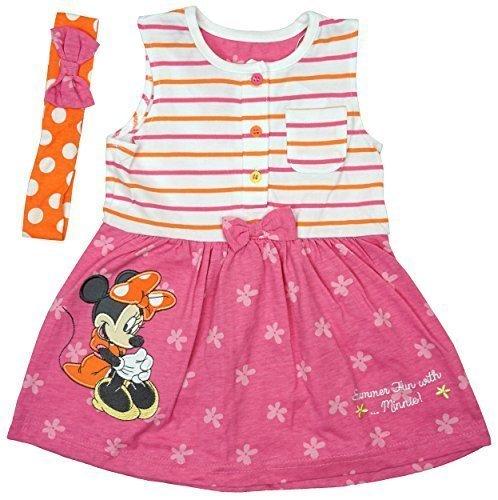 Mädchen Baby Disney Minnie Maus Sommerspass Kleid & Stirnband größen von Neugeborene bis 24 Monate - Rosa, 6 - 9 (Für Minnie Kleid Baby Maus)